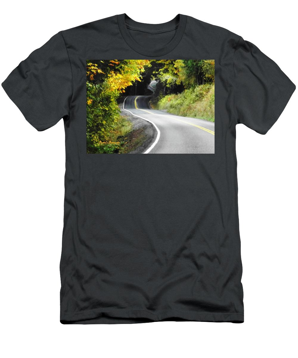 Roads Men's T-Shirt (Athletic Fit) featuring the photograph The Low Road by A L Sadie Reneau