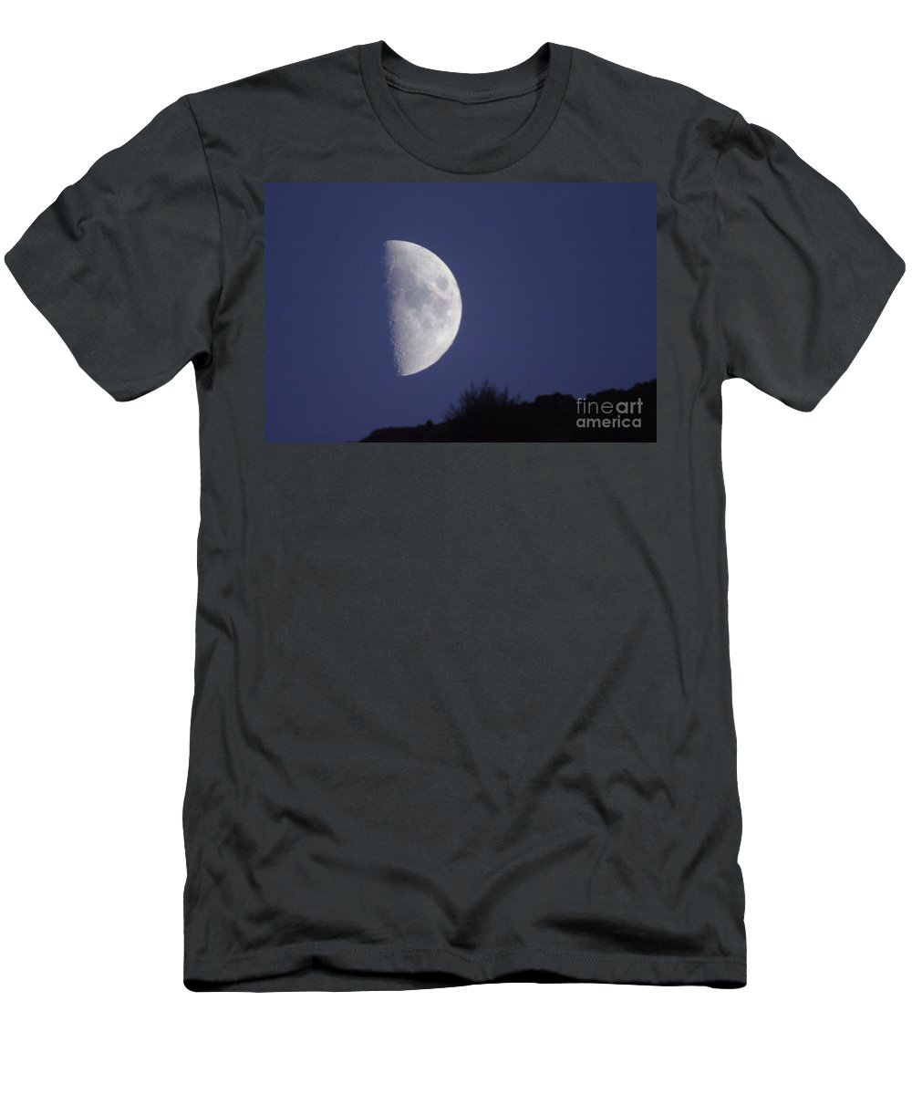 Moon Men's T-Shirt (Athletic Fit) featuring the photograph The Moon Over A Mountain by Jeff Swan