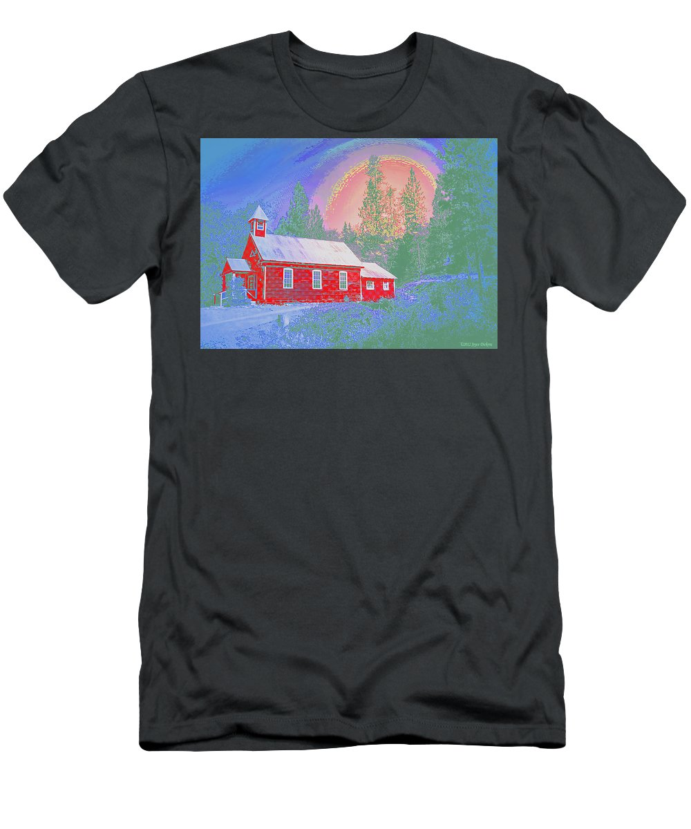 Schoolhouse Men's T-Shirt (Athletic Fit) featuring the photograph The Old Schoolhouse Library by Joyce Dickens