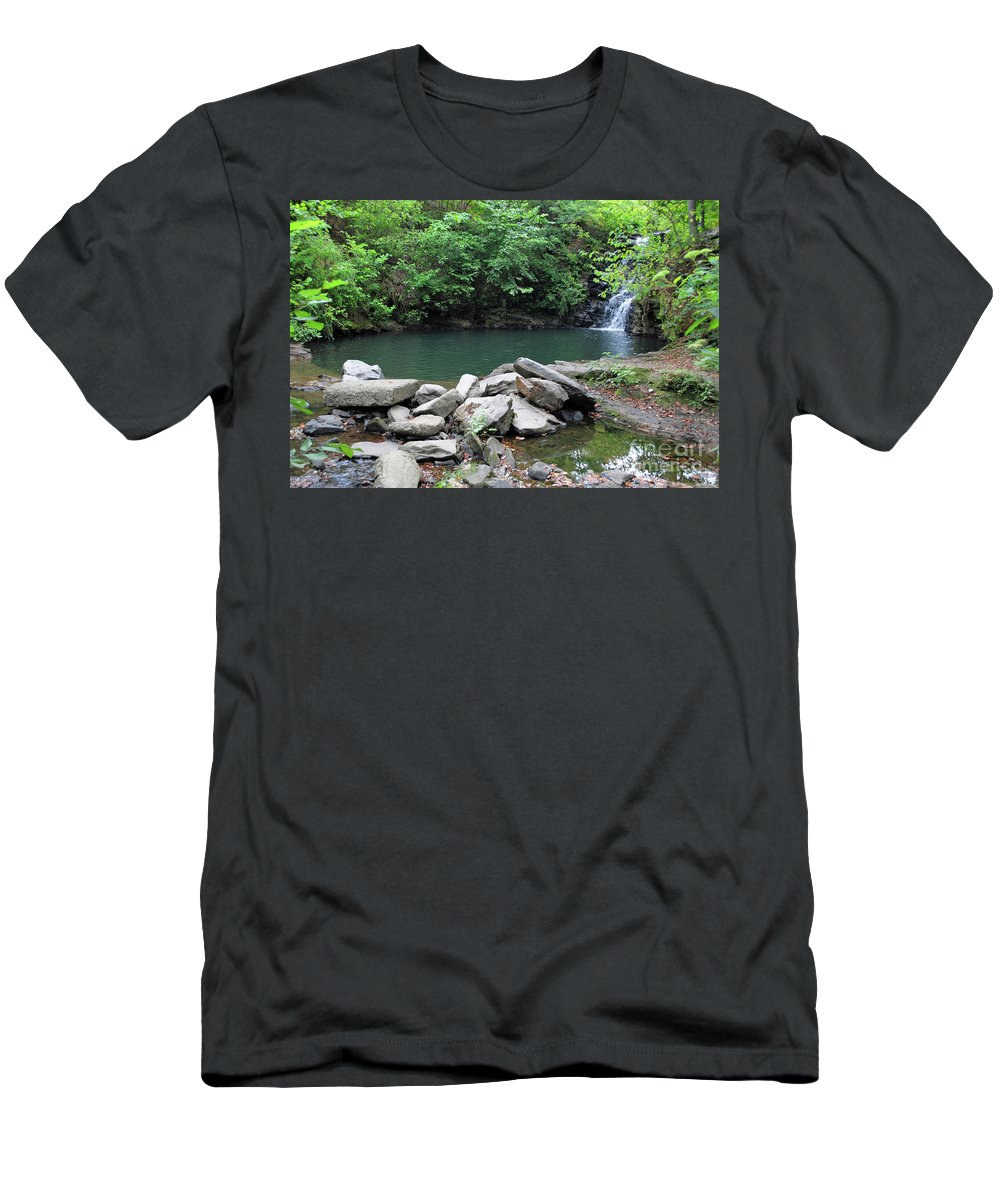 Waterfall Men's T-Shirt (Athletic Fit) featuring the photograph The Ole Swimming Hole by Jost Houk