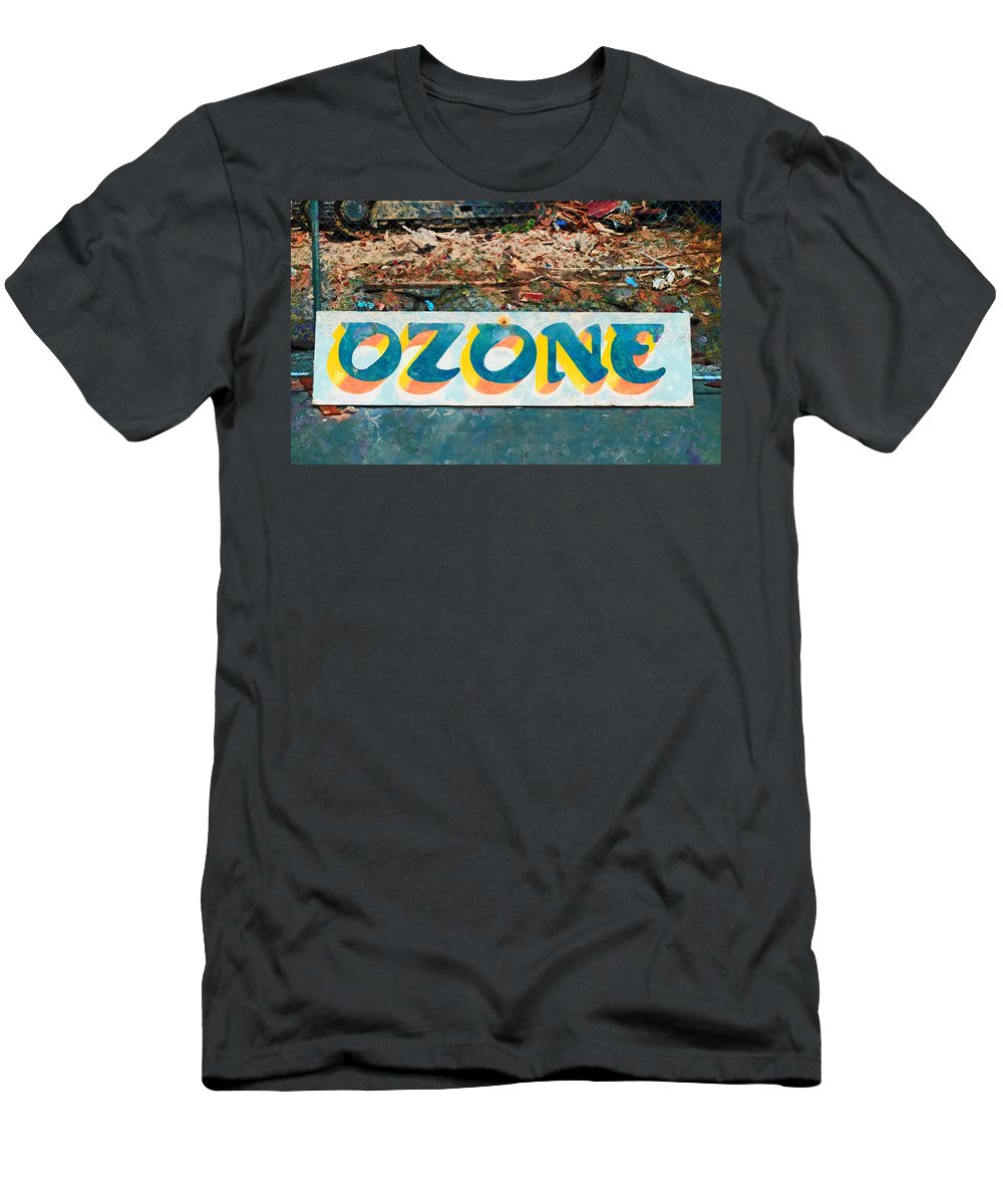 This Sign Was All That Remained After The Demolition Of The Historical Ozone Hotel Men's T-Shirt (Athletic Fit) featuring the photograph The Sign Of The Ozone by Steve Taylor