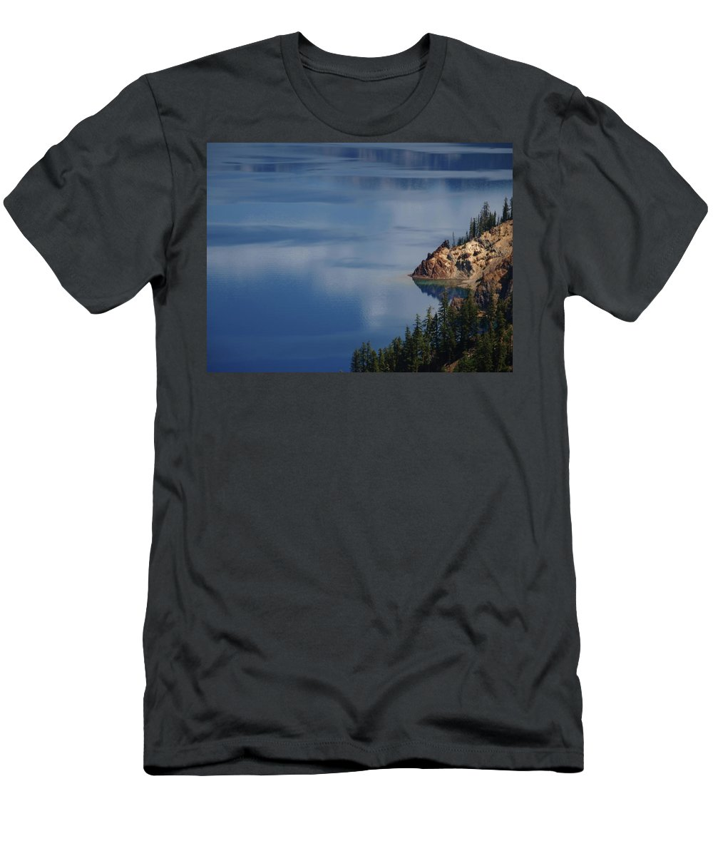 Trees Men's T-Shirt (Athletic Fit) featuring the photograph The Surface Of Crater Lake by Teri Schuster