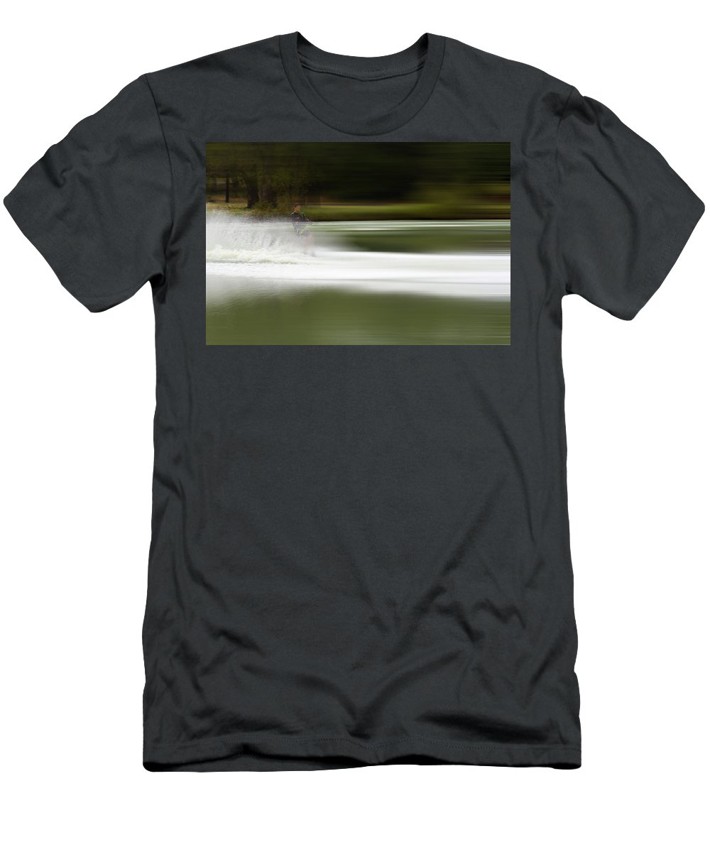 The Water Skier Men's T-Shirt (Athletic Fit) featuring the photograph The Water Skier 2 by Douglas Barnard