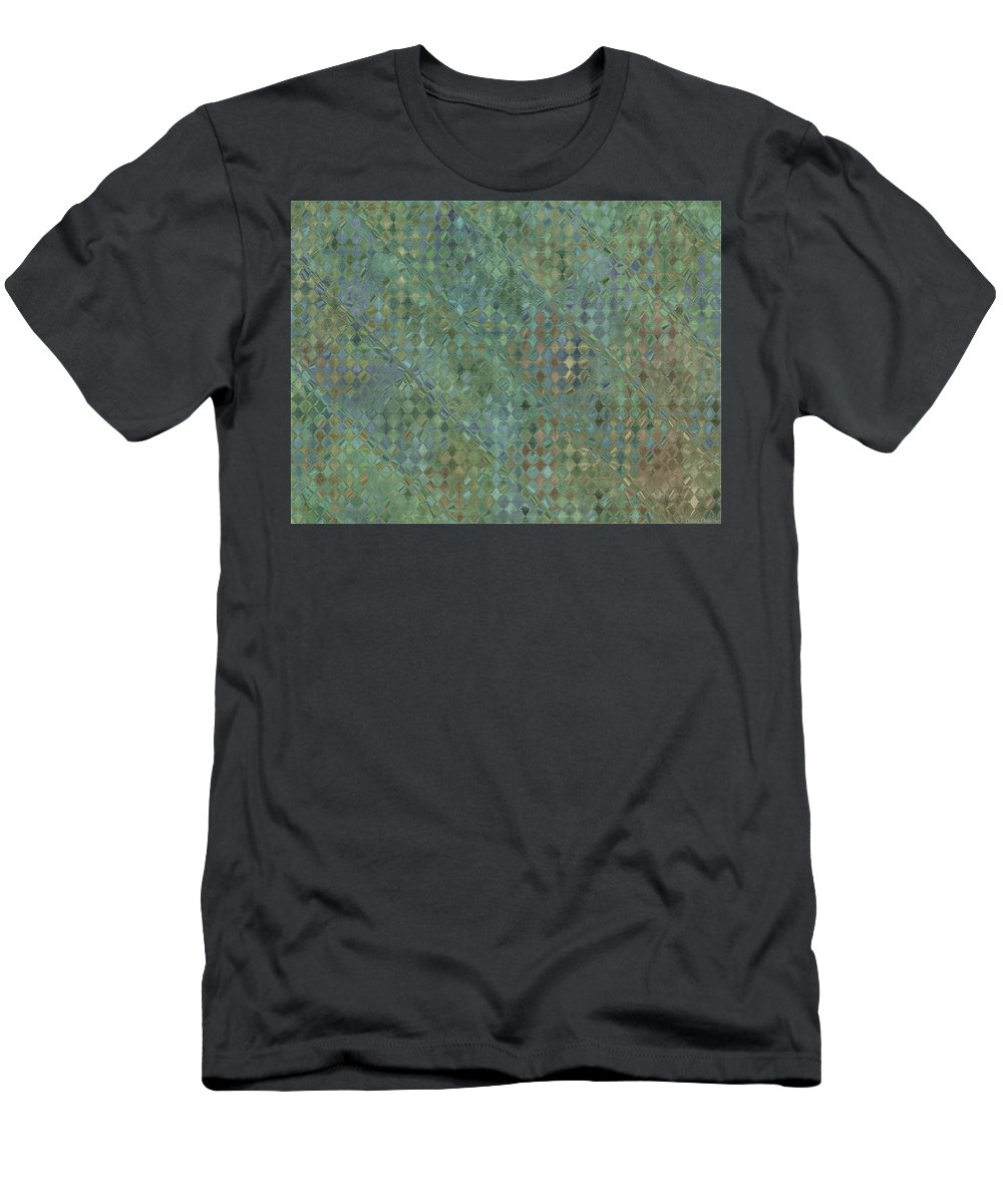 Abstract Men's T-Shirt (Athletic Fit) featuring the digital art Tiny Bluetone Diamonds by Debbie Portwood