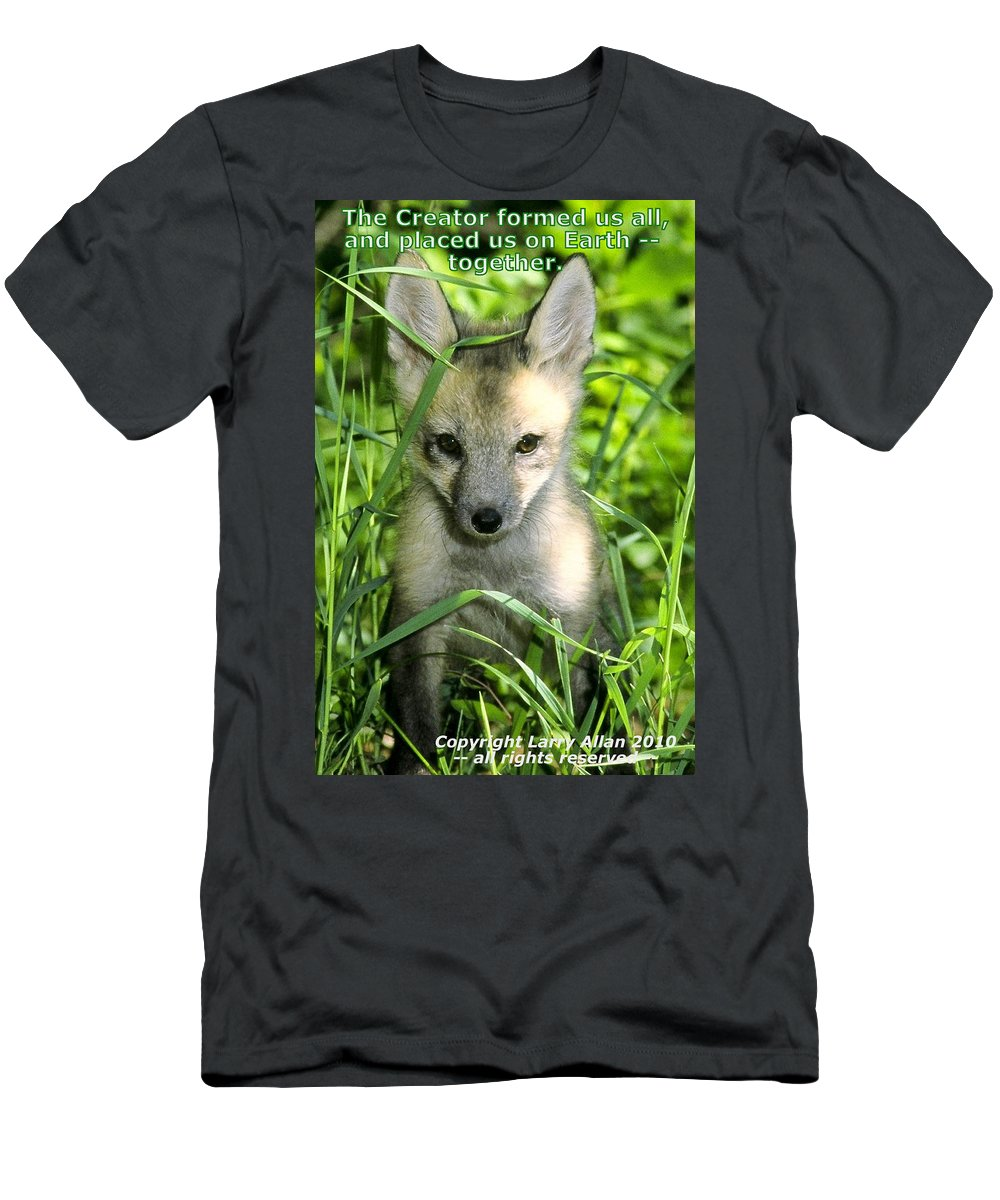 Red Fox Men's T-Shirt (Athletic Fit) featuring the photograph Together by Larry Allan