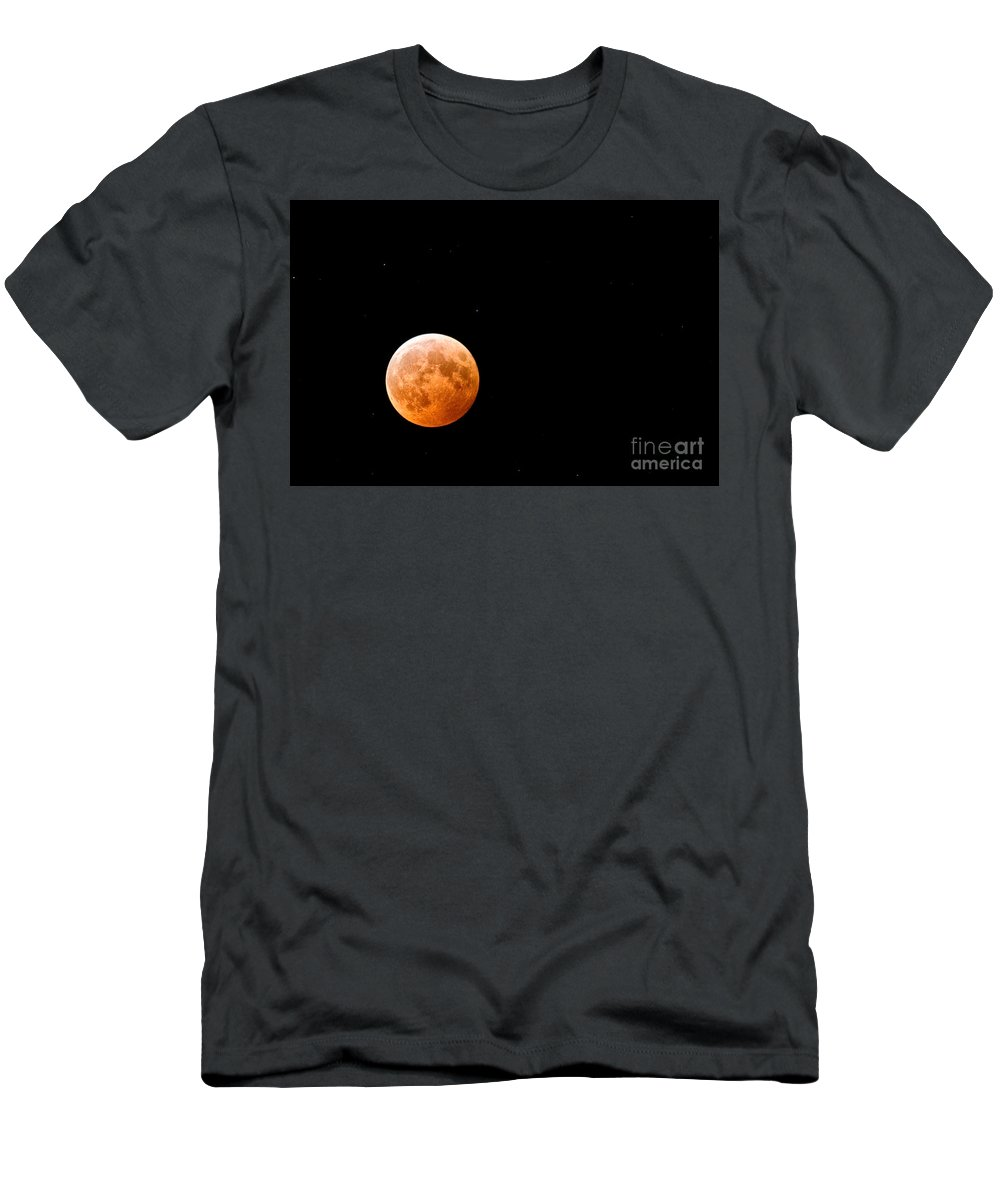 Space Men's T-Shirt (Athletic Fit) featuring the photograph Total Lunar Eclipse by Matt Suess