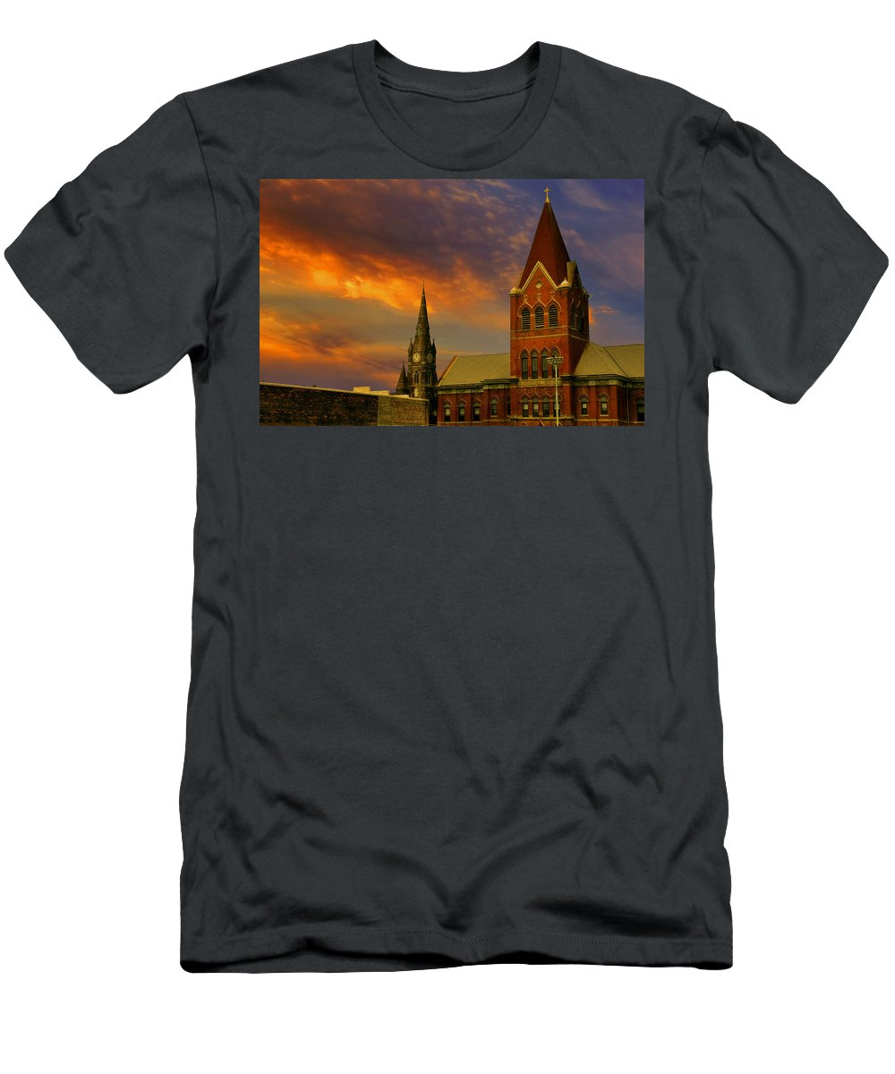 Church T-Shirt featuring the photograph Towers Of Faith by Brian Fisher