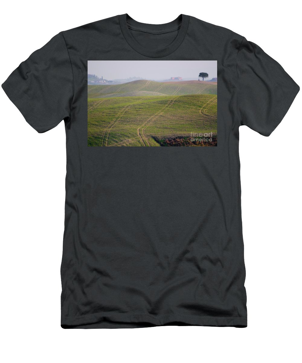 Field Men's T-Shirt (Athletic Fit) featuring the photograph Tracks On The Field by Mats Silvan