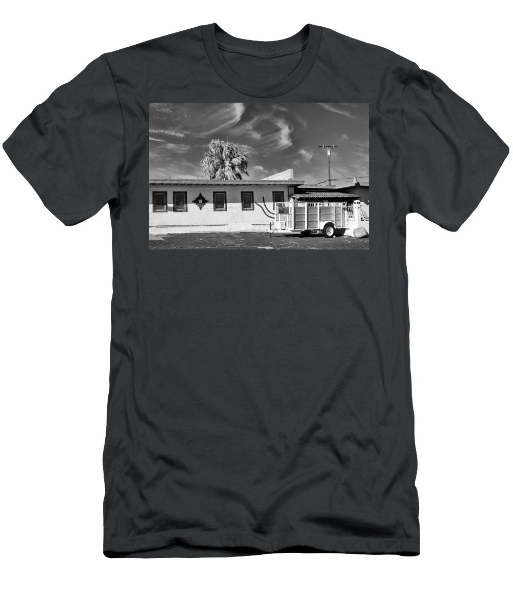 Dhs Men's T-Shirt (Athletic Fit) featuring the photograph Trailer Town 2 Bw by William Dey