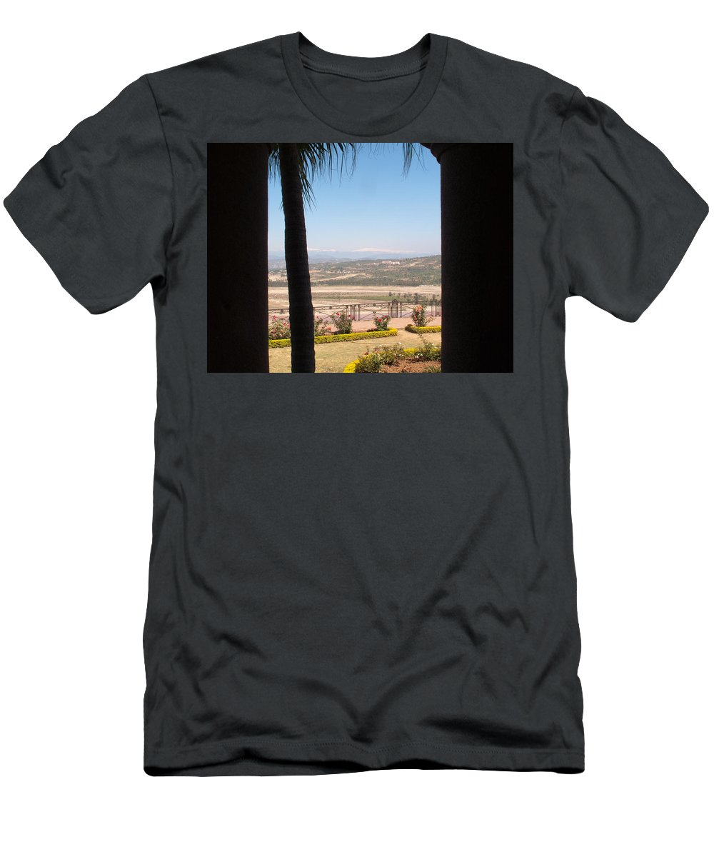 Tree Men's T-Shirt (Athletic Fit) featuring the photograph Tree Blocking View Of Garden And Valley And Ice-capped Mountains by Ashish Agarwal