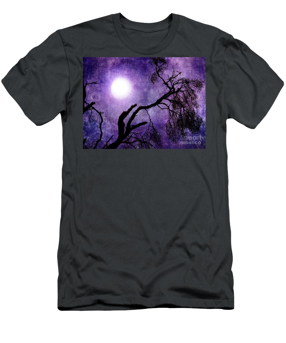Purple Men's T-Shirt (Athletic Fit) featuring the photograph Tree Branch In Purple Moonlight by Laura Iverson