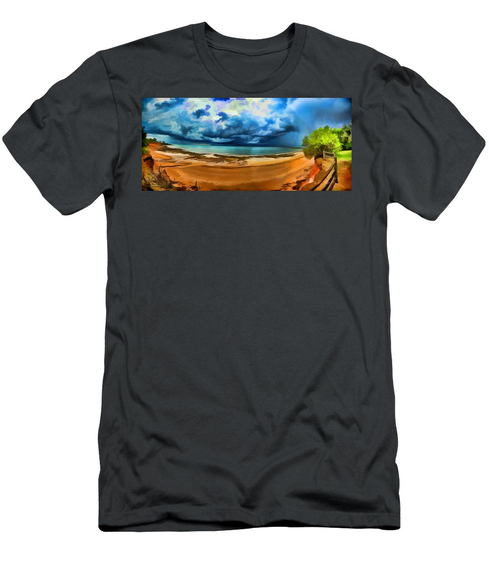 Clouds Men's T-Shirt (Athletic Fit) featuring the photograph Tropical Seasonal Monsoon Rain V2 by Douglas Barnard