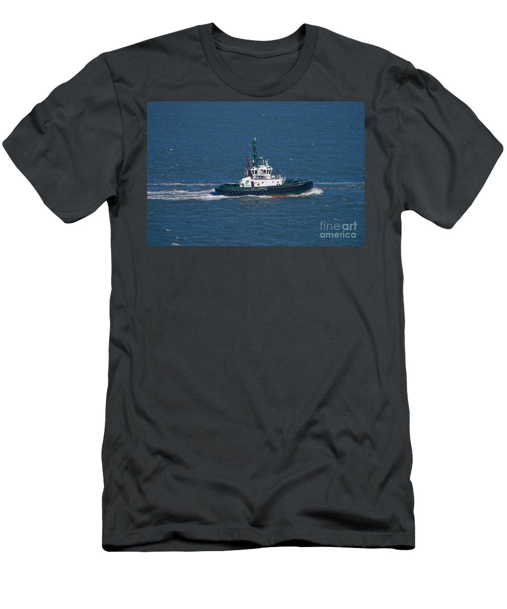 San Francisco Men's T-Shirt (Athletic Fit) featuring the photograph Tug Boat In San Francisco Bay by Tim Mulina