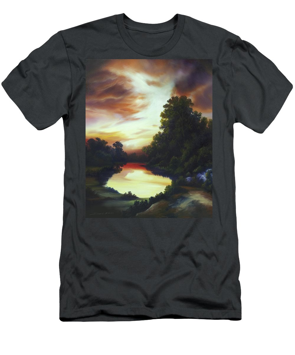 Nature; Lake; Sunset; Sunrise; Serene; Forest; Trees; Water; Ripples; Clearing; Lagoon; James Christopher Hill; Jameshillgallery.com; Foliage; Sky; Realism; Oils T-Shirt featuring the painting Turner's Sunrise by James Christopher Hill