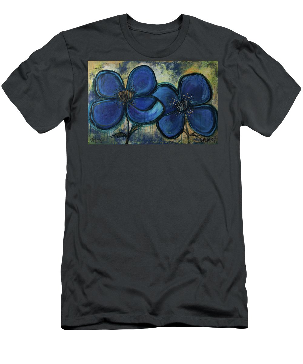 Poppies Men's T-Shirt (Athletic Fit) featuring the painting Two Blue Poppies by Laurie Maves ART