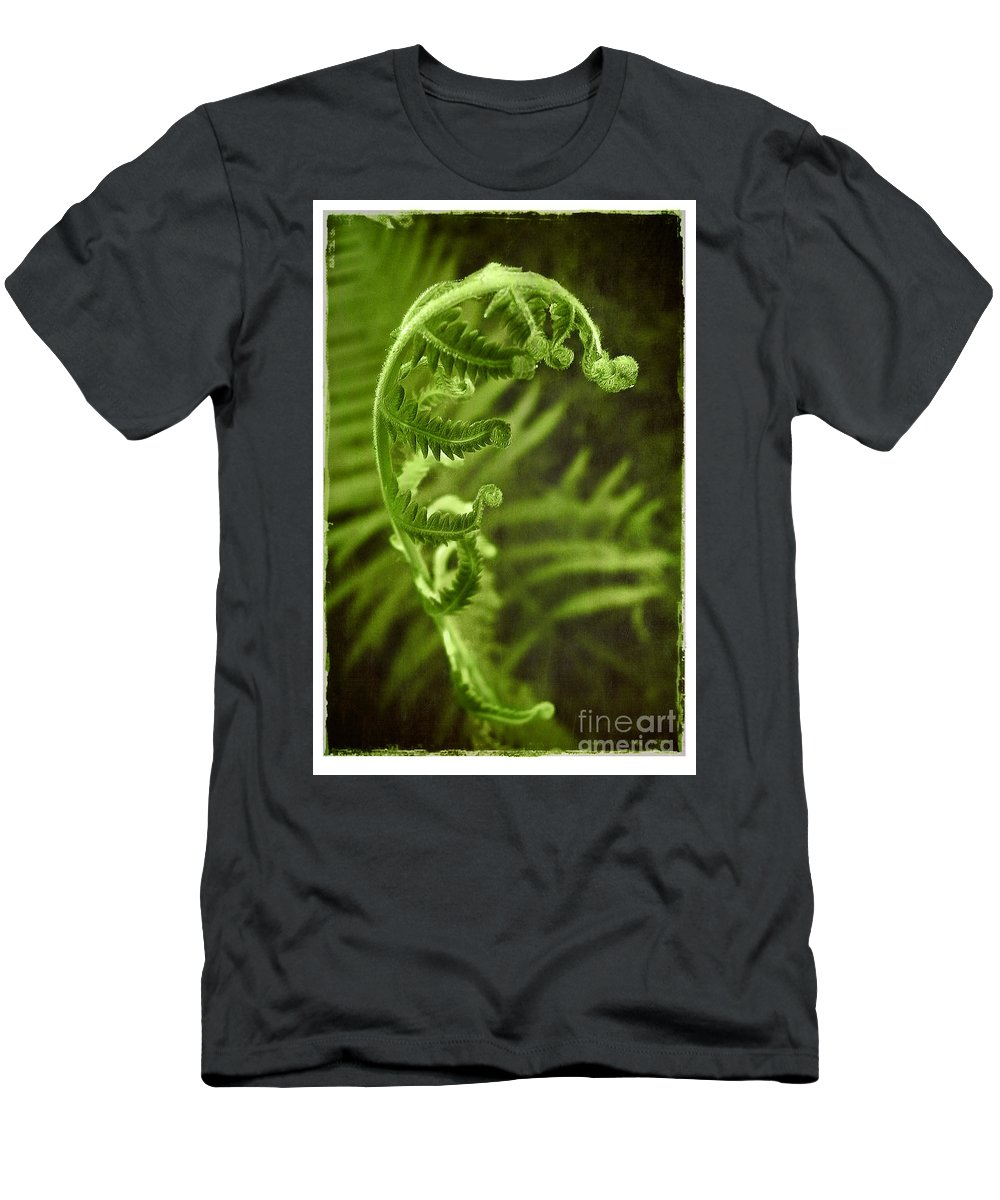 Fern Men's T-Shirt (Athletic Fit) featuring the photograph Unfurling by Judi Bagwell