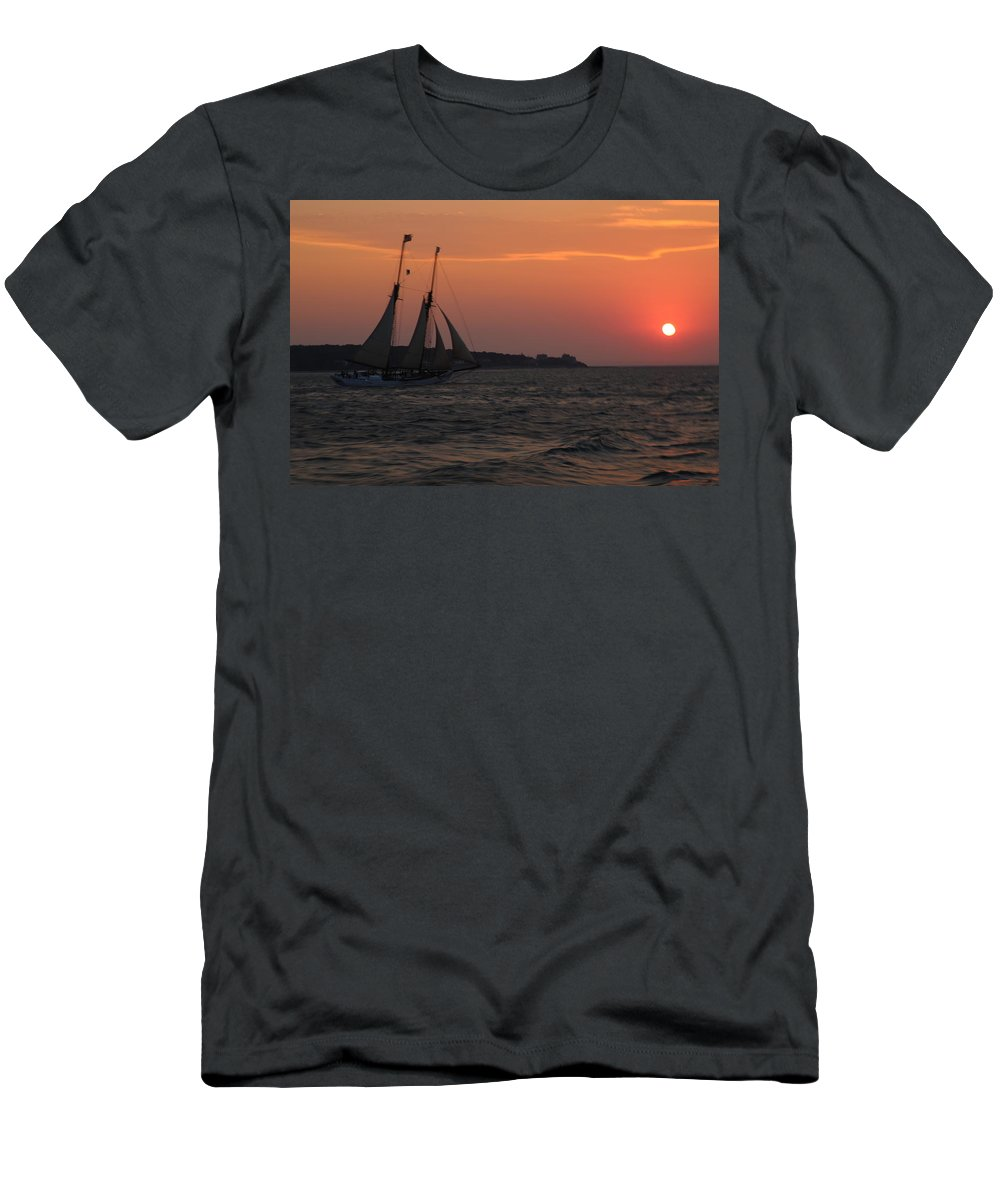 Marthas Vineyard Men's T-Shirt (Athletic Fit) featuring the photograph Uss Alabama by Allan Morrison