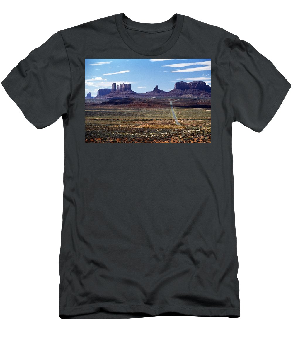 Barren Men's T-Shirt (Athletic Fit) featuring the photograph Utah, Usa Highway And Rock Formations by John Doornkamp