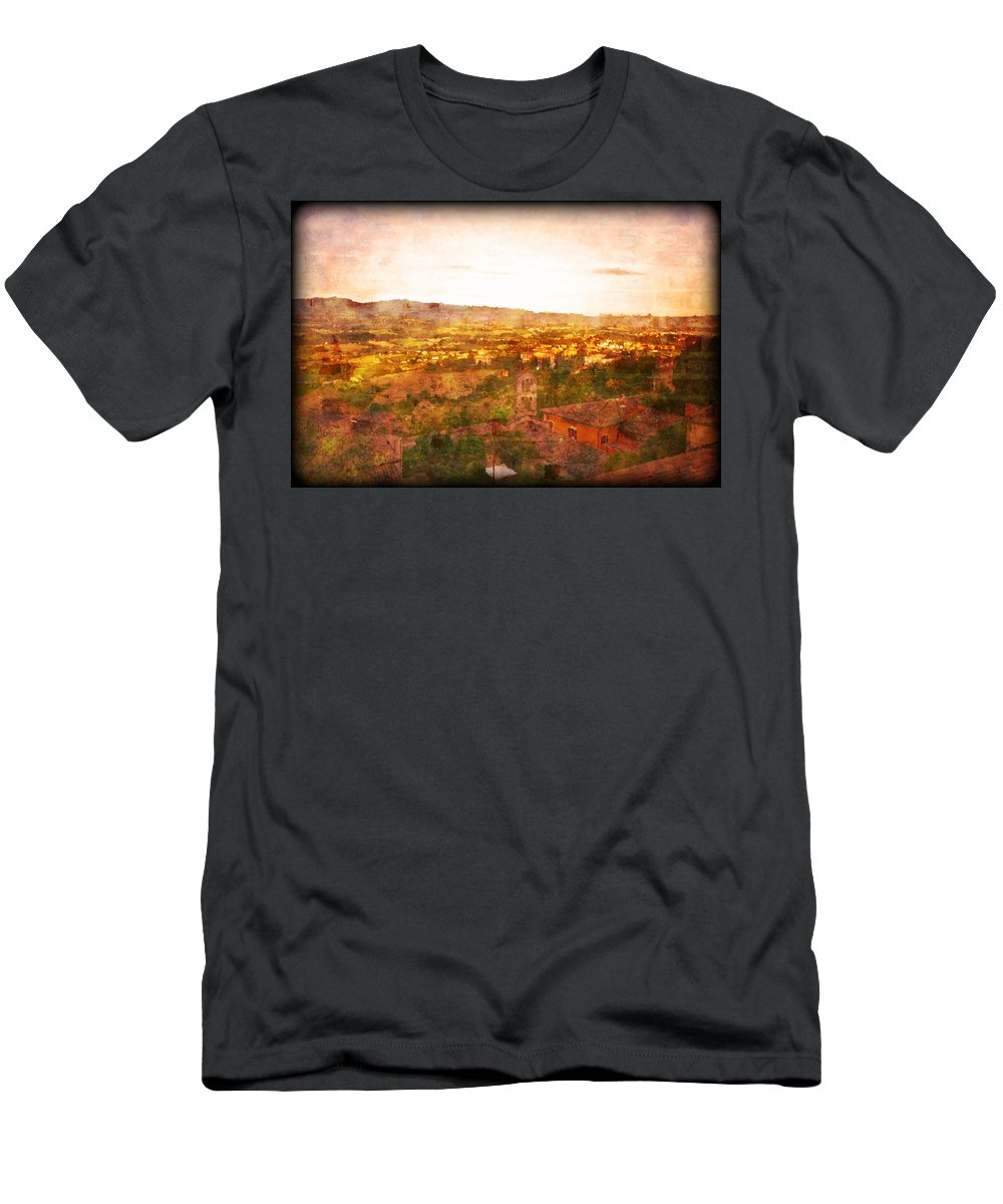 Something Different Italian Landscape Men's T-Shirt (Athletic Fit) featuring the photograph Vintage Landscape Florence Italy by Femina Photo Art By Maggie
