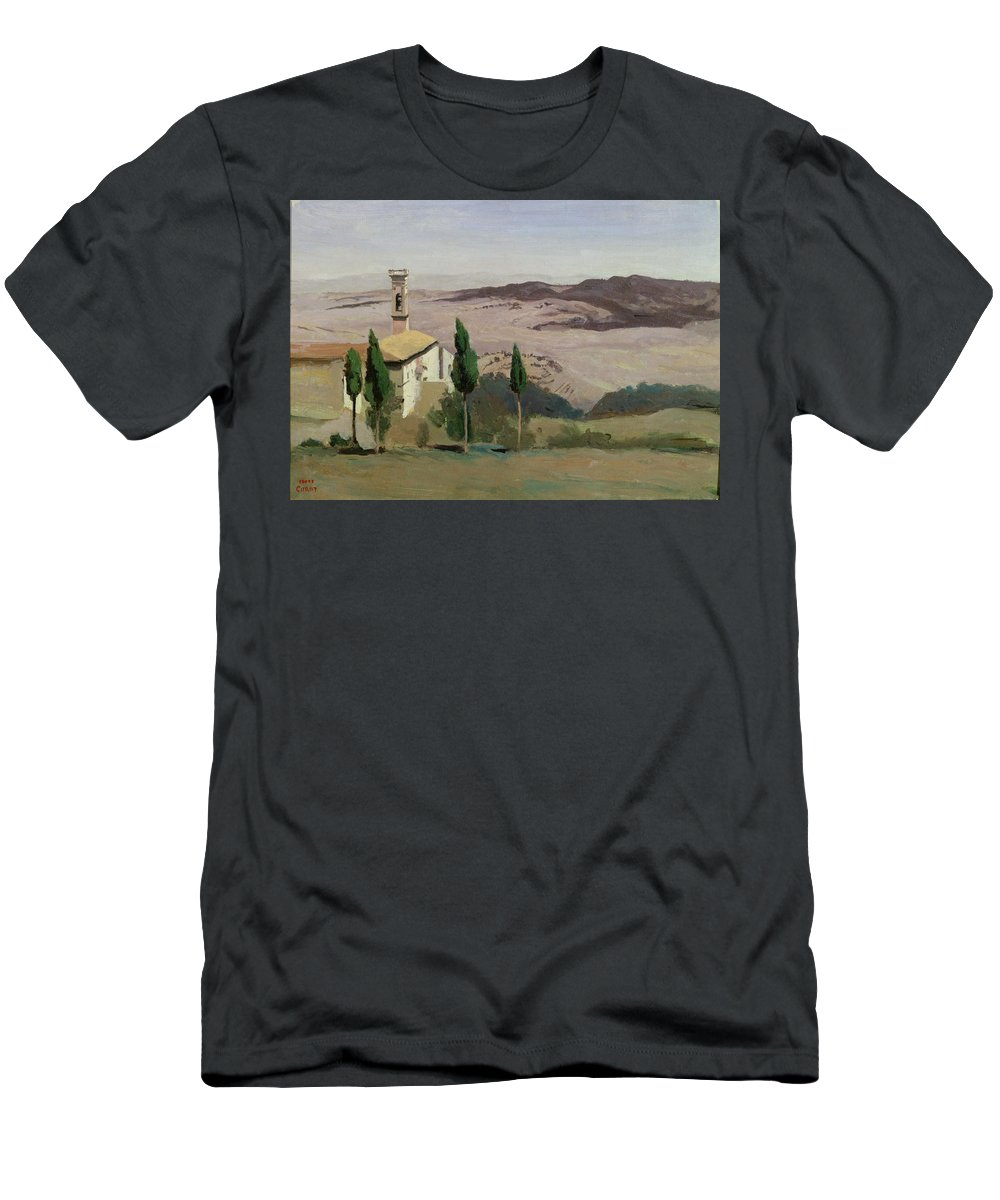 Volterra Men's T-Shirt (Athletic Fit) featuring the painting Volterra by Jean Baptiste Camille Corot
