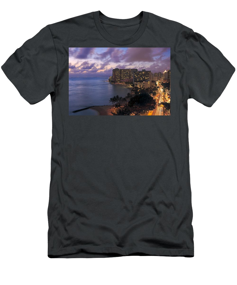 Architectural Art Men's T-Shirt (Athletic Fit) featuring the photograph Waikiki At Night by Tomas del Amo