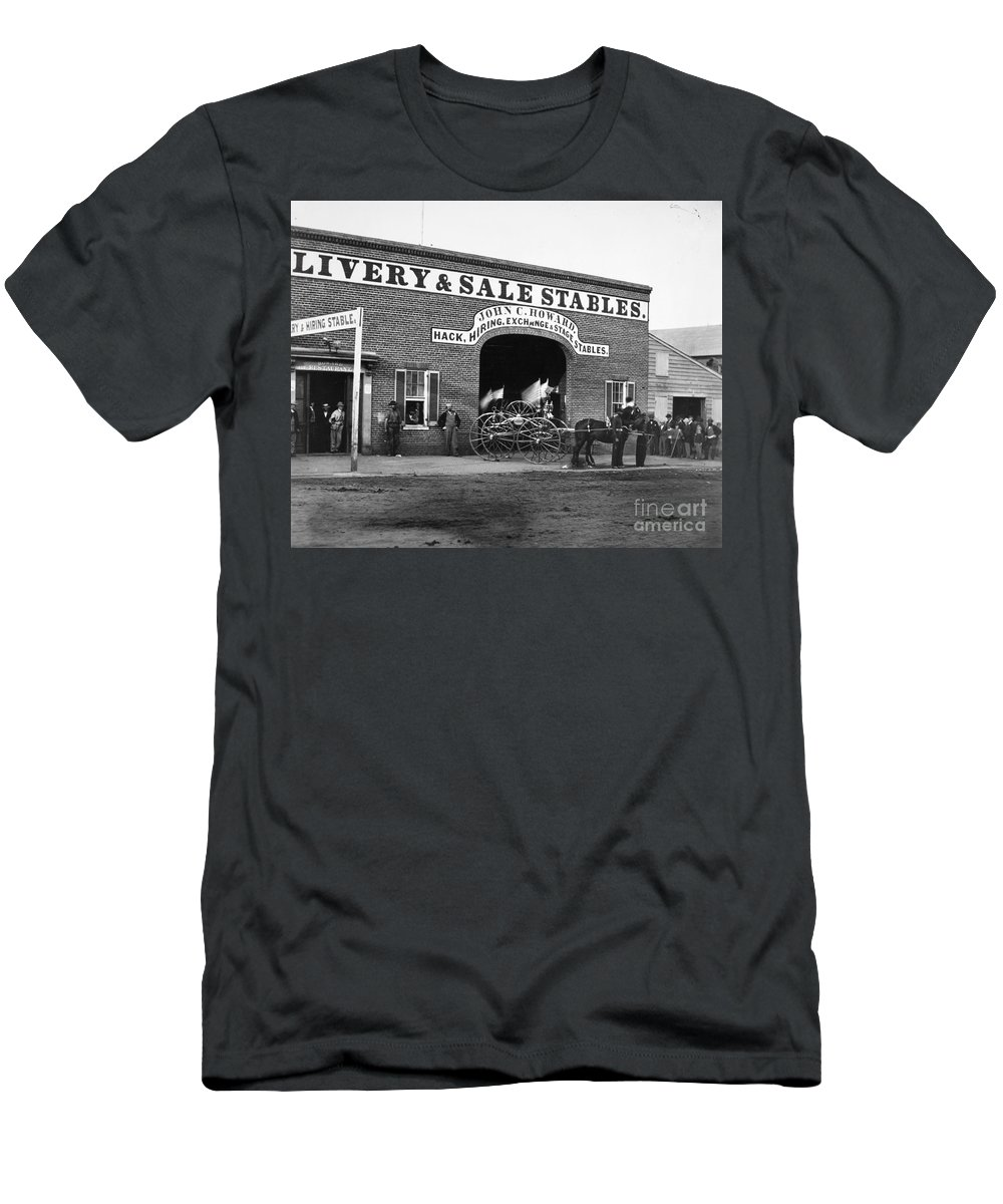 1865 Men's T-Shirt (Athletic Fit) featuring the photograph Washington: Stables, 1865 by Granger