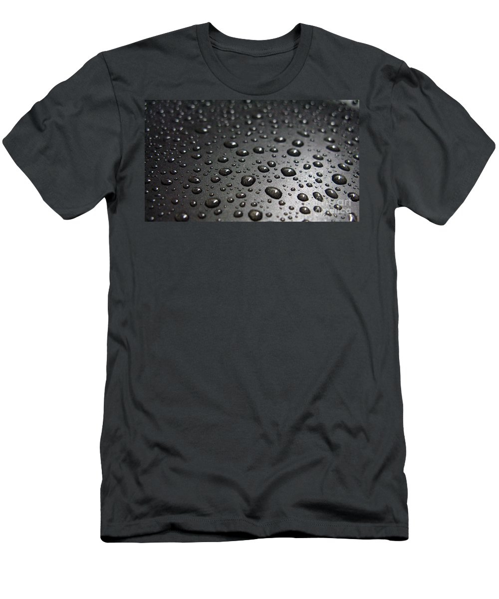 Bubble Men's T-Shirt (Athletic Fit) featuring the photograph Water Drops On Black Metalica. Business Card. Invitation. Sympathy Note. by Ausra Huntington nee Paulauskaite
