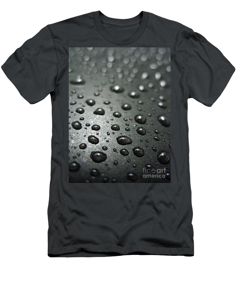 Bubble Men's T-Shirt (Athletic Fit) featuring the photograph Water Drops On Metal Pan by Ausra Huntington nee Paulauskaite