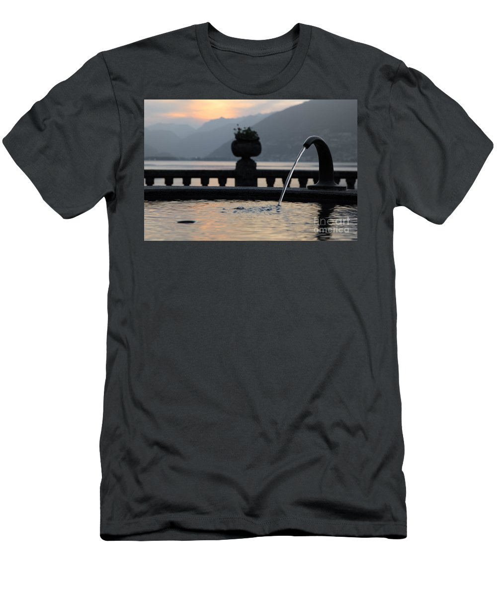 Fountain Men's T-Shirt (Athletic Fit) featuring the photograph Water Fountain by Mats Silvan