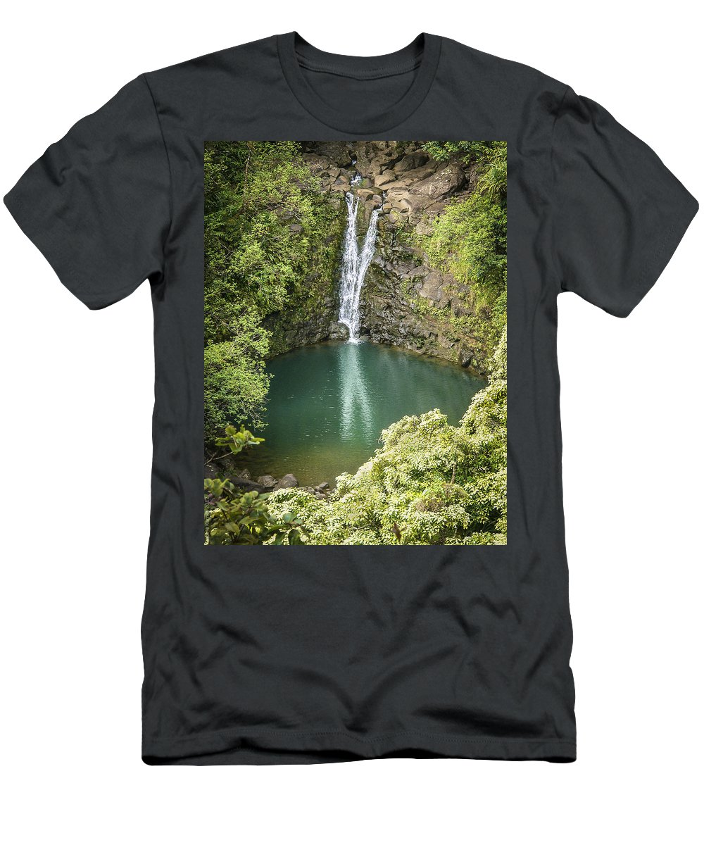 Maui Men's T-Shirt (Athletic Fit) featuring the photograph Waterfall Reflections by Debbie Karnes
