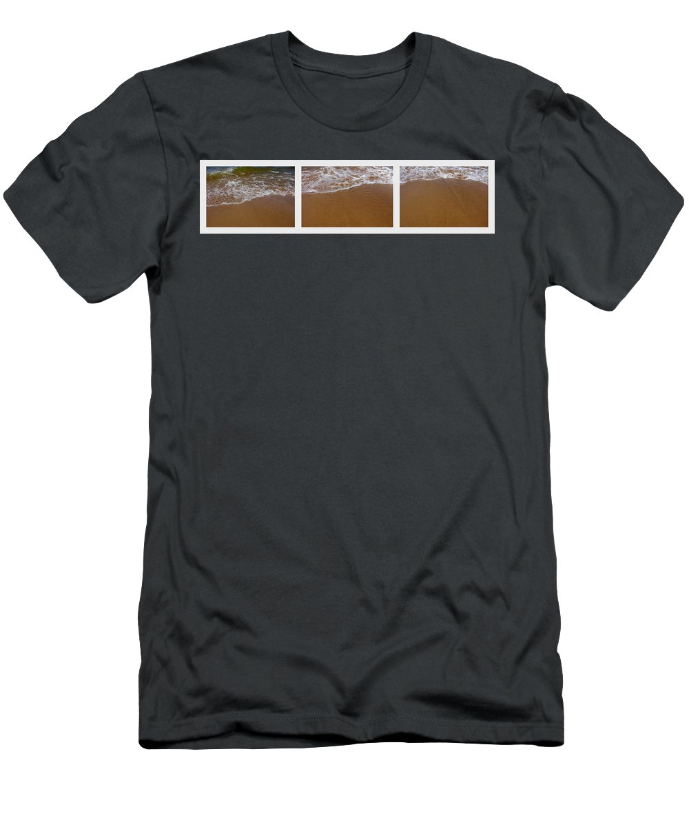 Waves Men's T-Shirt (Athletic Fit) featuring the photograph Waves Triptych by Michelle Calkins