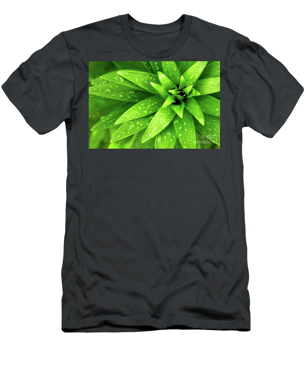 Blades Men's T-Shirt (Athletic Fit) featuring the photograph Wet Foliage by Carlos Caetano