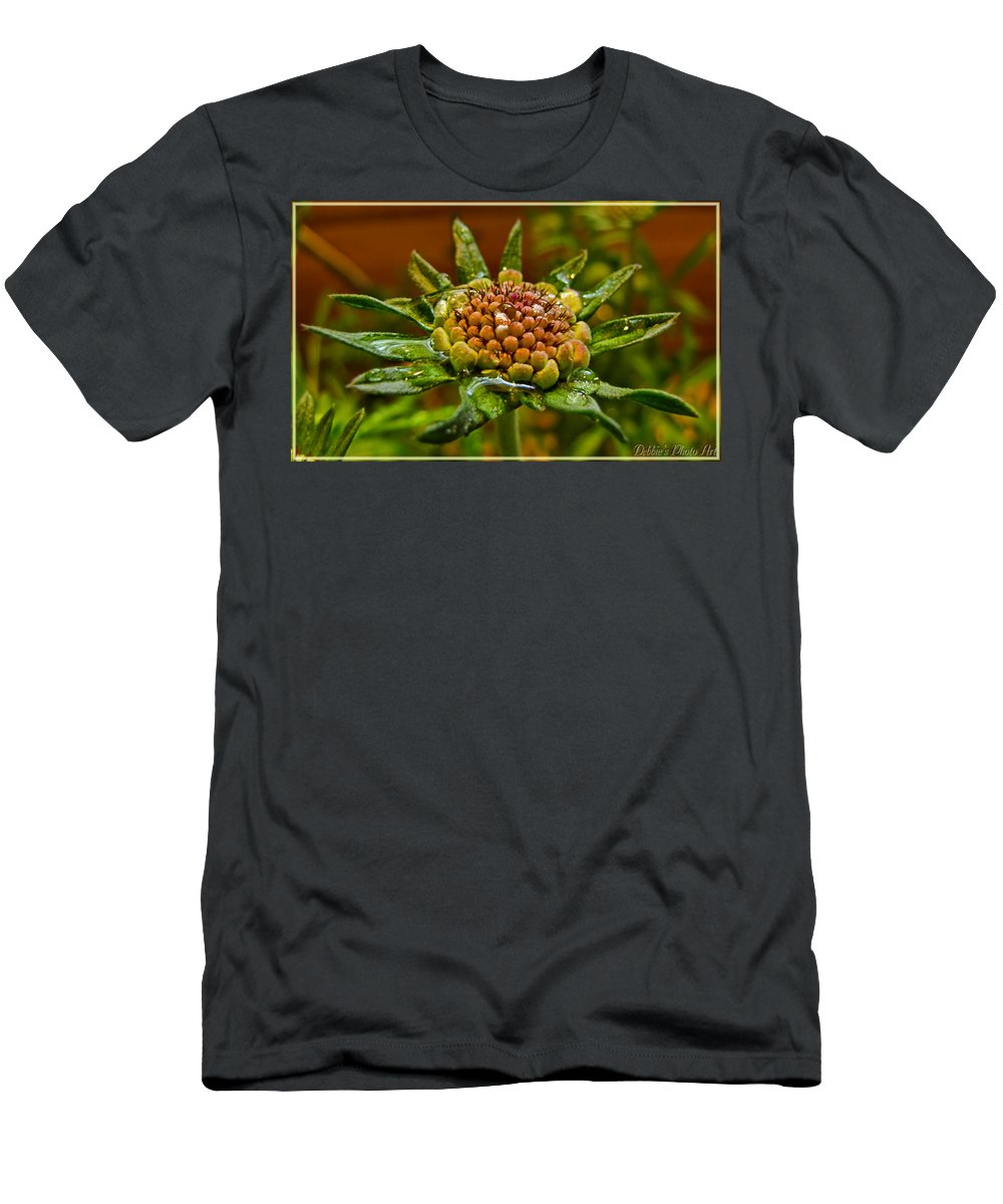 Nature Men's T-Shirt (Athletic Fit) featuring the photograph Wet Pinchshin Bud by Debbie Portwood