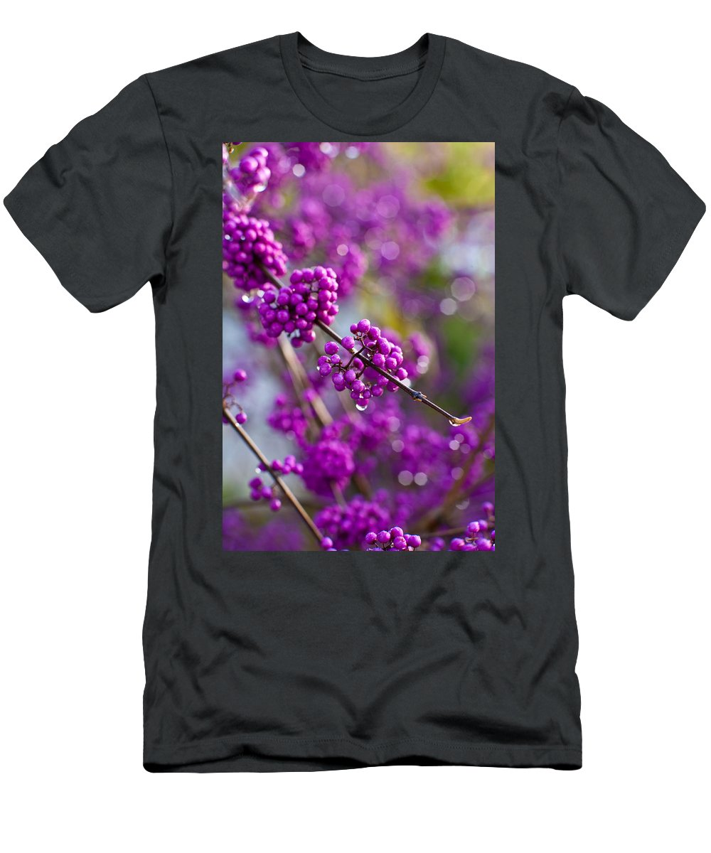Beauty Berry Men's T-Shirt (Athletic Fit) featuring the photograph Wet Purple by Mike Reid