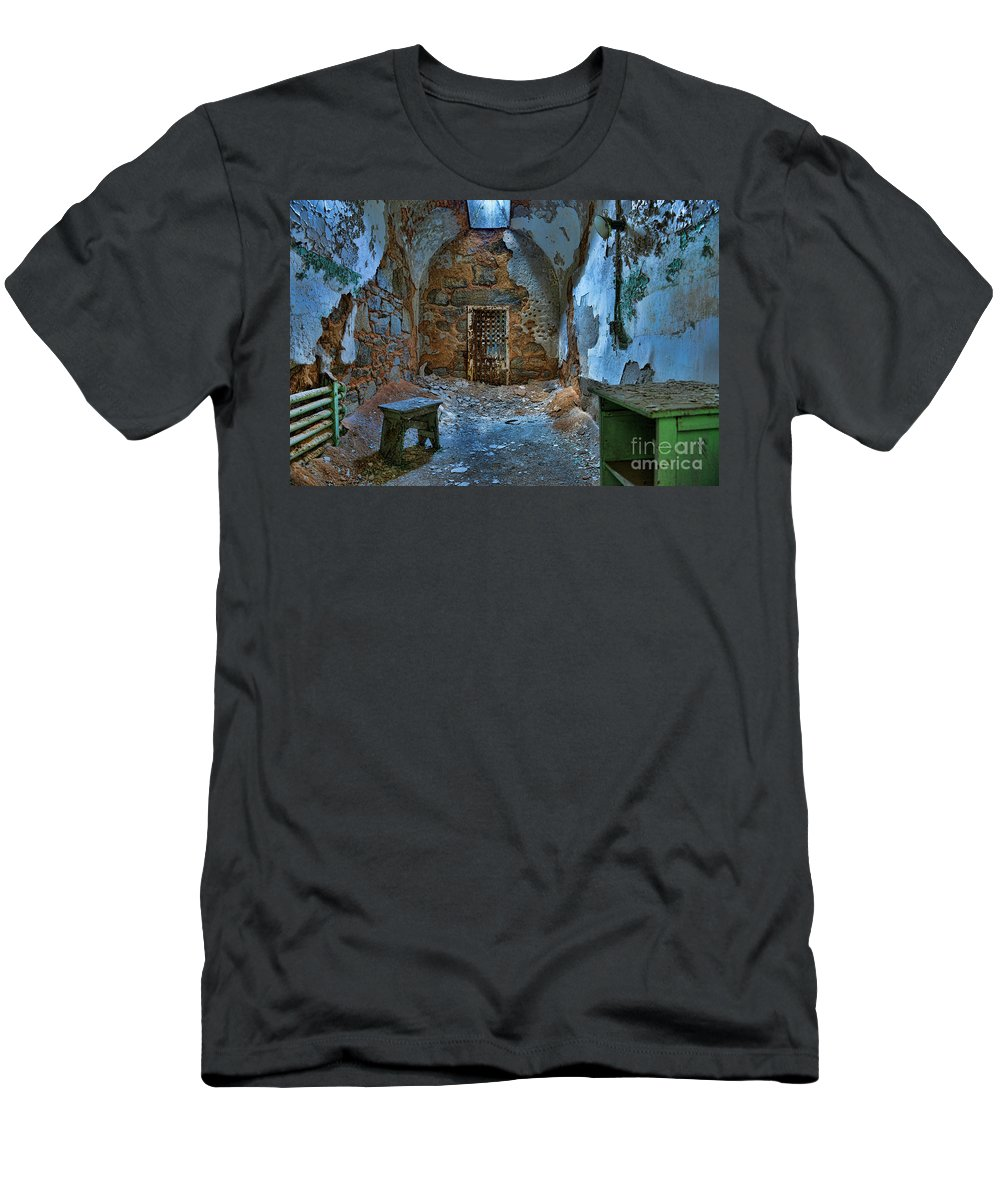 What Lies Behind The Door Men's T-Shirt (Athletic Fit) featuring the photograph What Lies Behind The Door by Paul Ward