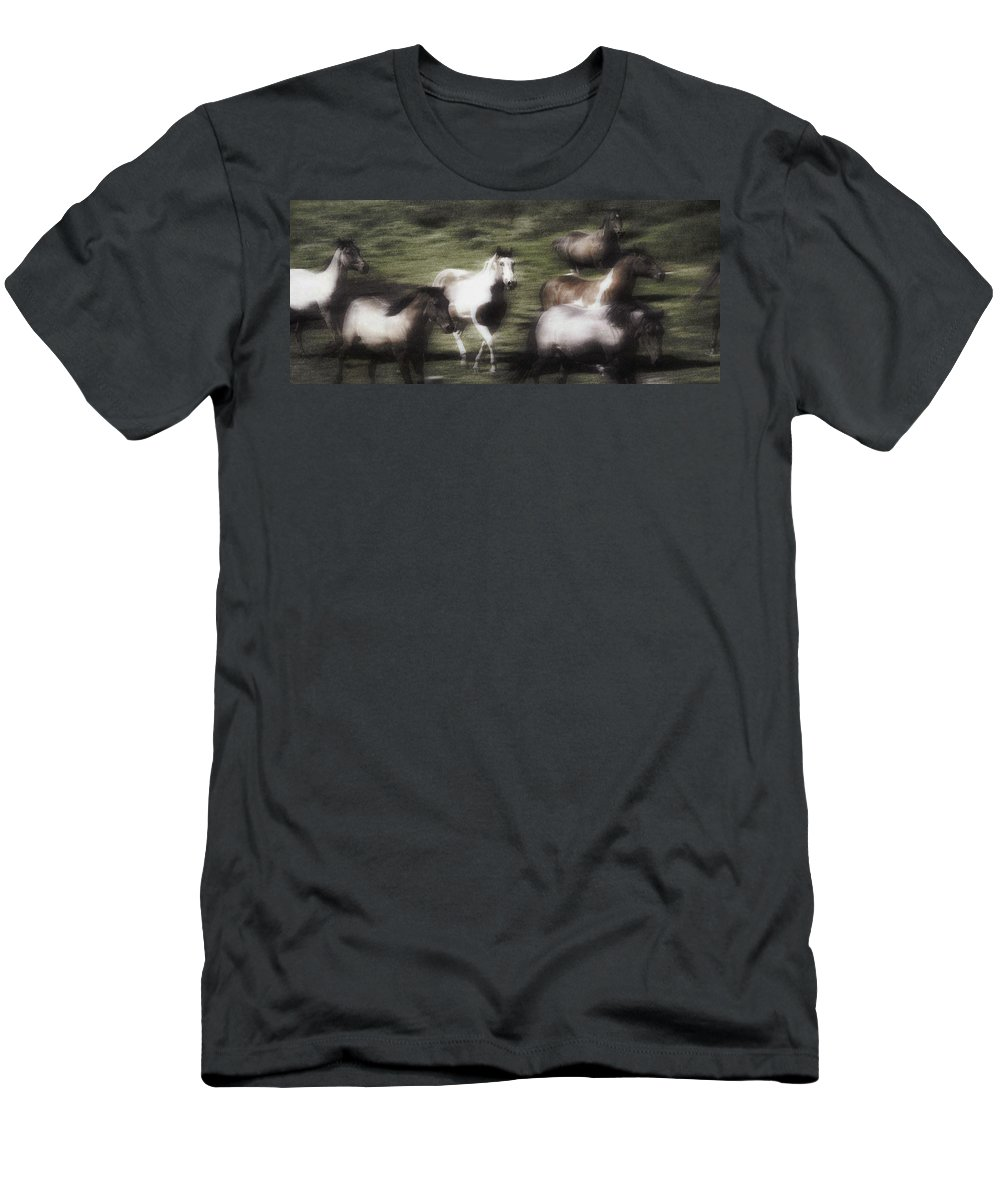 Outdoors Men's T-Shirt (Athletic Fit) featuring the photograph Wild Horses On The Move by Don Hammond