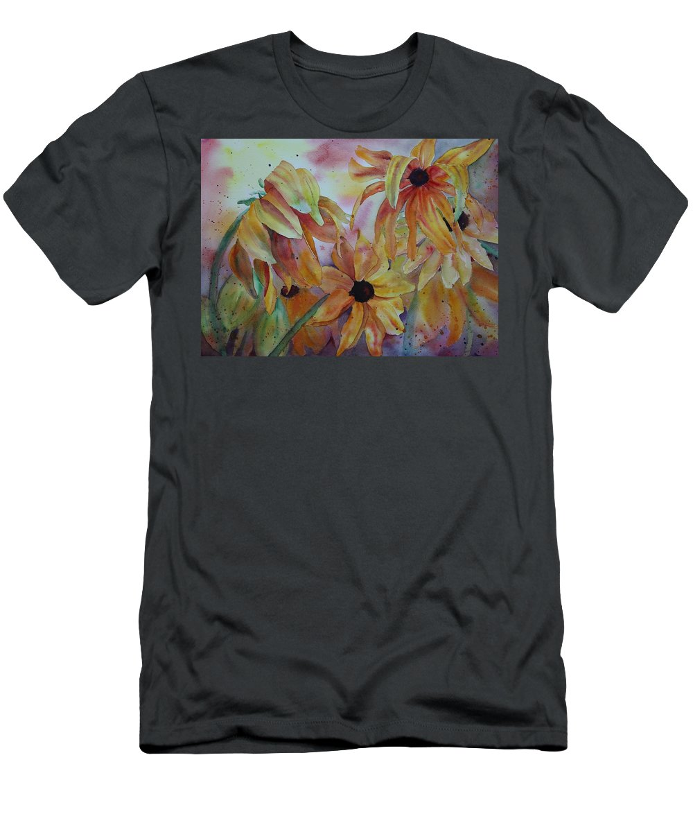 Sunflowers Men's T-Shirt (Athletic Fit) featuring the painting Wild Sunflowers by Ruth Kamenev