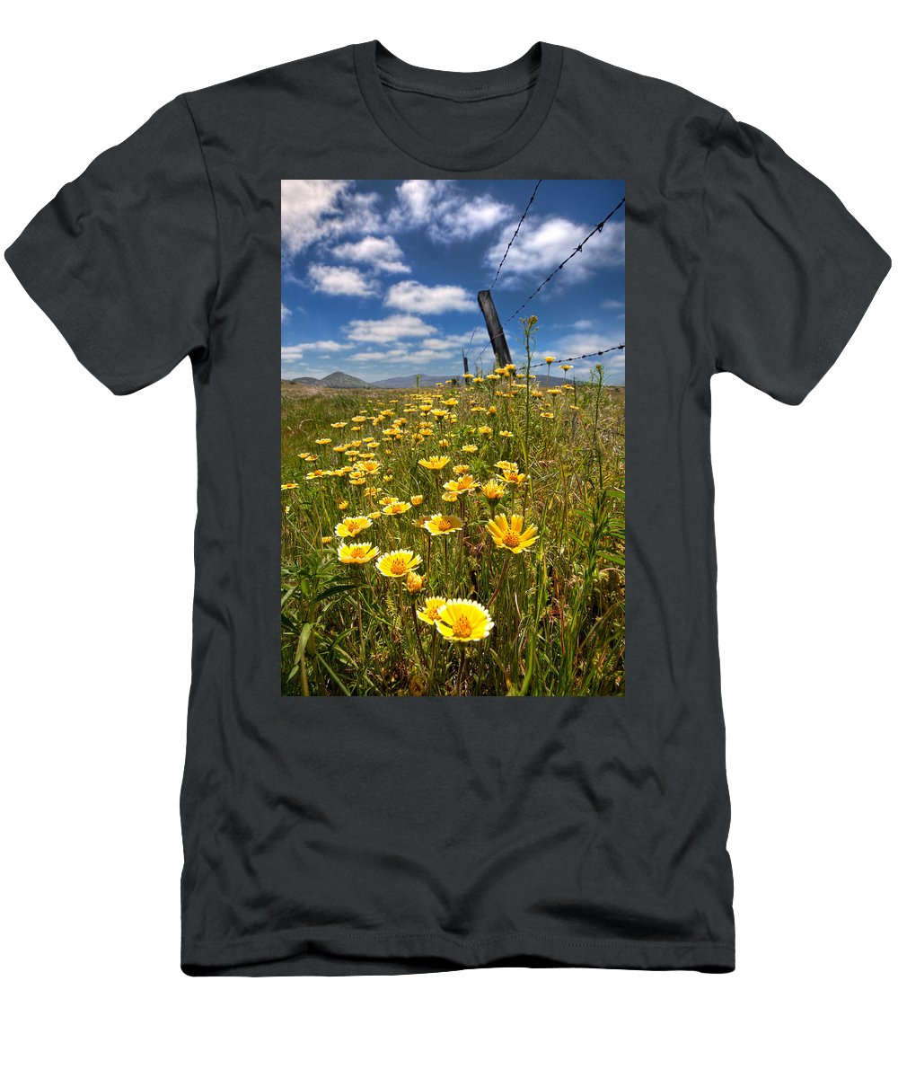 Laguna Mountains Men's T-Shirt (Athletic Fit) featuring the photograph Wildflowers And Barbed Wire by Peter Tellone
