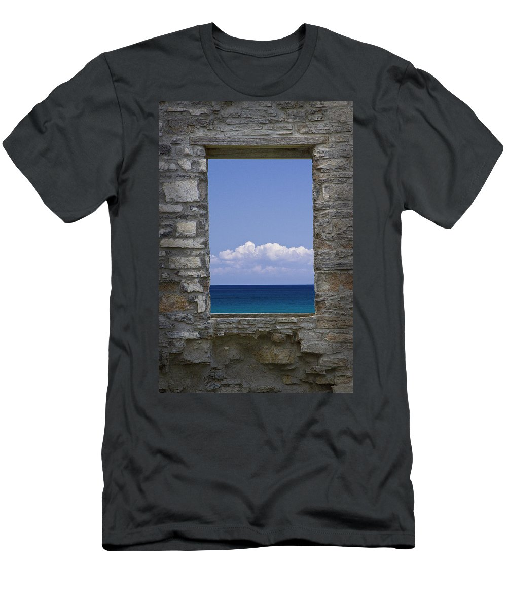 Art Men's T-Shirt (Athletic Fit) featuring the photograph Window View At Fayette State Park Michigan by Randall Nyhof