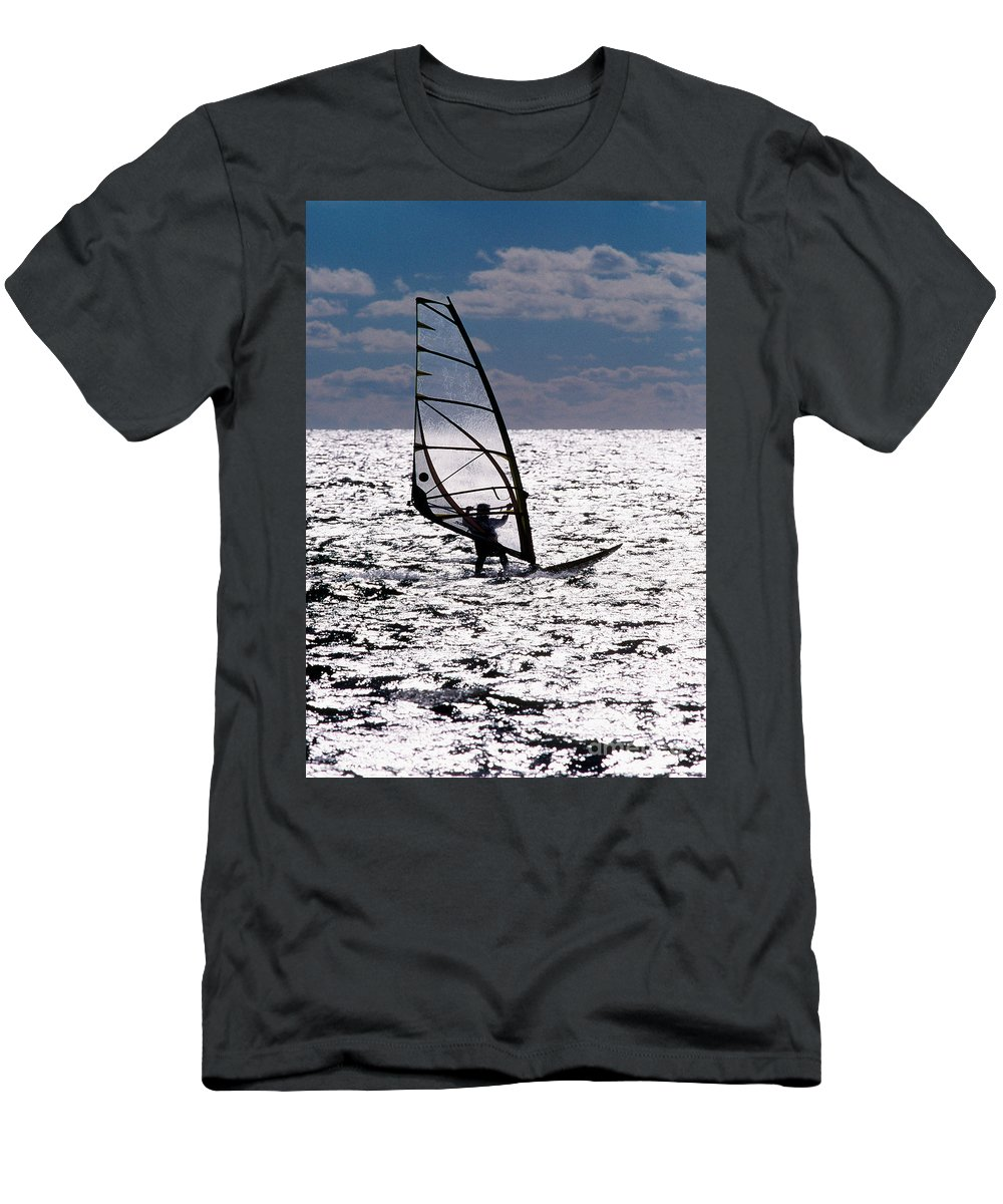 Cape Cod Men's T-Shirt (Athletic Fit) featuring the photograph windsurfer rides the water at West Dennis Beach on Cape Cod by Matt Suess