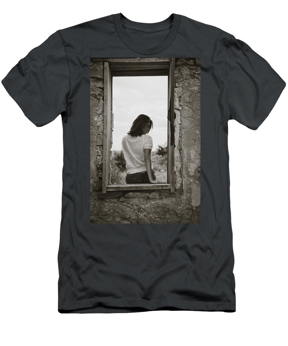Woman Men's T-Shirt (Athletic Fit) featuring the photograph Woman In Window by Scott Sawyer