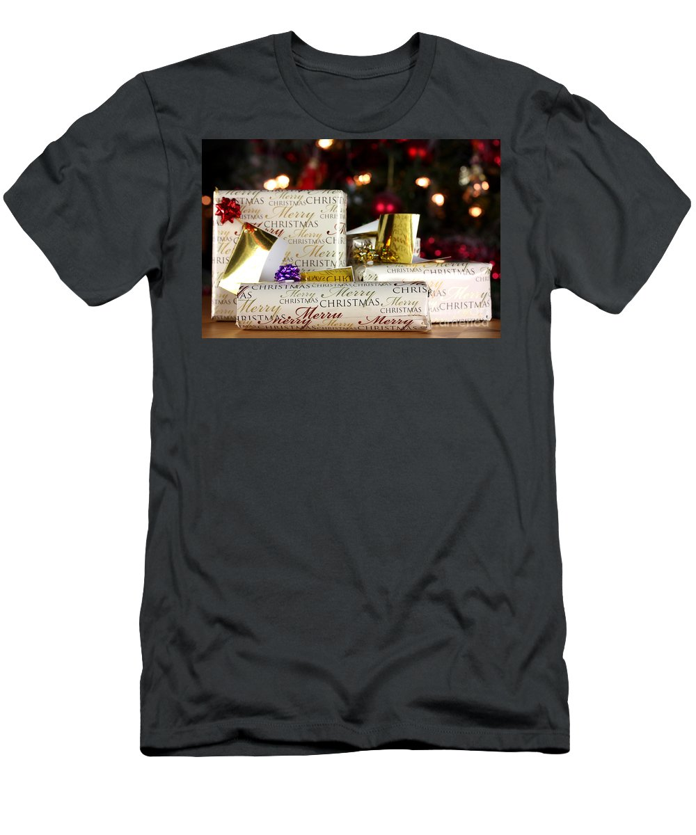 Anniversary Men's T-Shirt (Athletic Fit) featuring the photograph Wrapped Gifts With Tags by Simon Bratt Photography LRPS