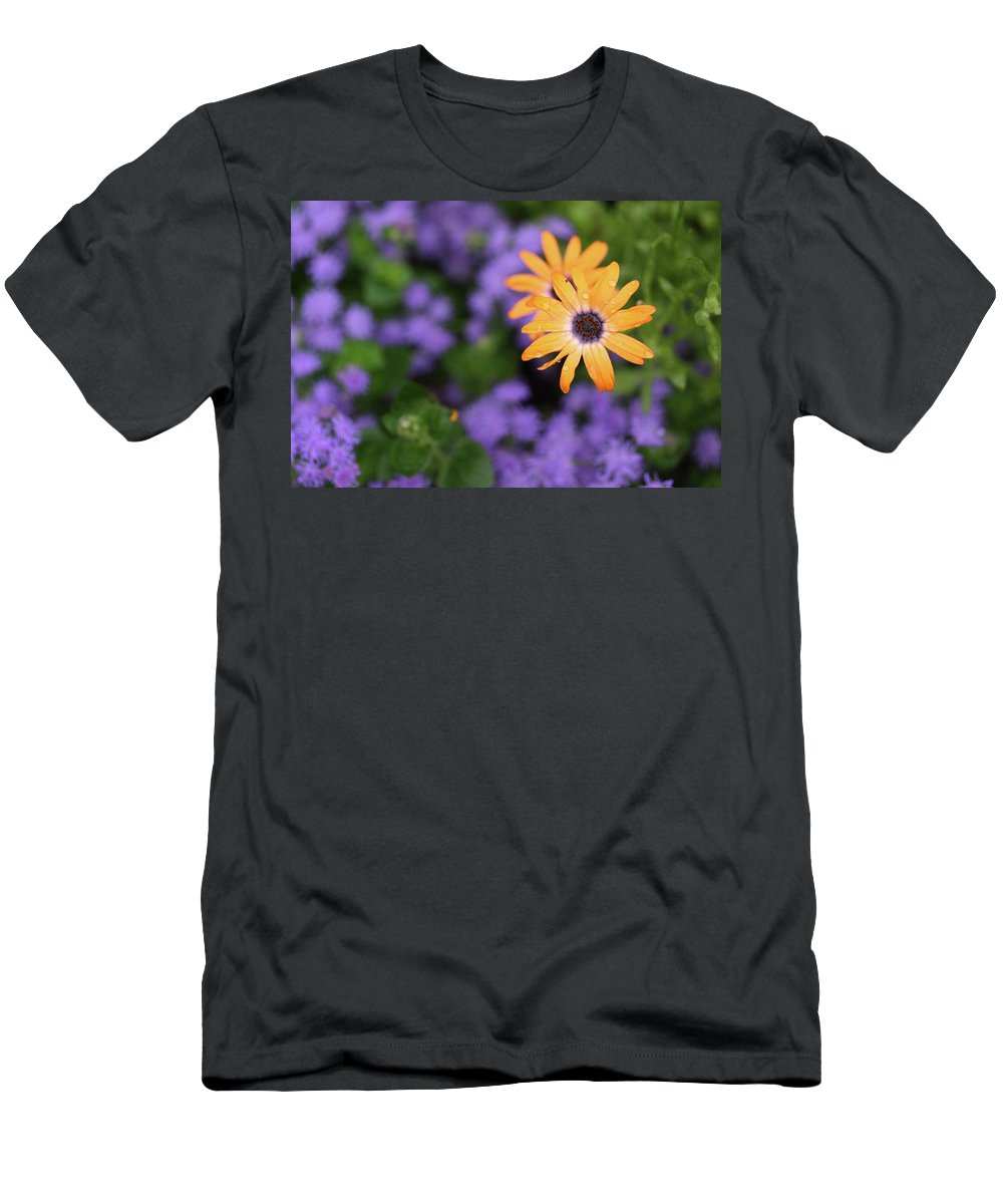 Flowers Men's T-Shirt (Athletic Fit) featuring the photograph Yellow And Purple by Rick Berk