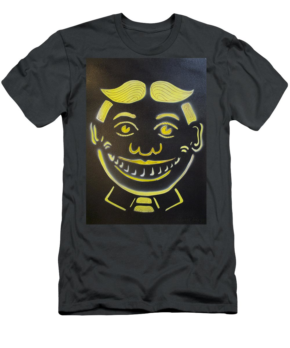 Tillie Of Asbury Park T-Shirt featuring the painting Yellow on Black Tillie by Patricia Arroyo