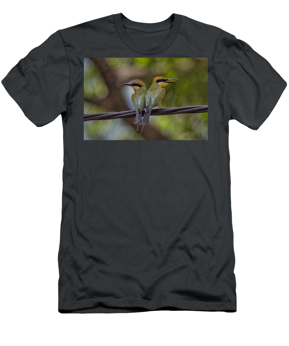 Rainbow Bee-eaters T-Shirt featuring the photograph You Watch My Back and I Watch Yours V2 by Douglas Barnard