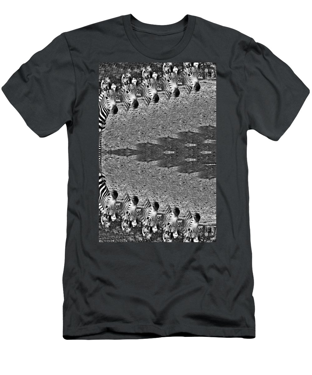 Zebra Circle Men's T-Shirt (Athletic Fit) featuring the photograph Zebra Half-circle by Douglas Barnard