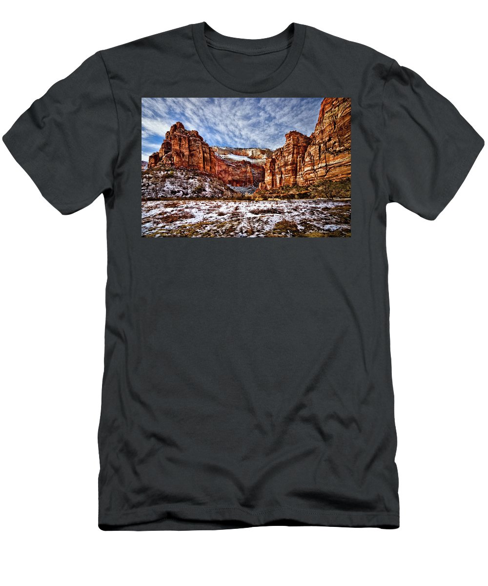 Mountain Men's T-Shirt (Athletic Fit) featuring the photograph Zion Canyon In Utah by Christopher Holmes