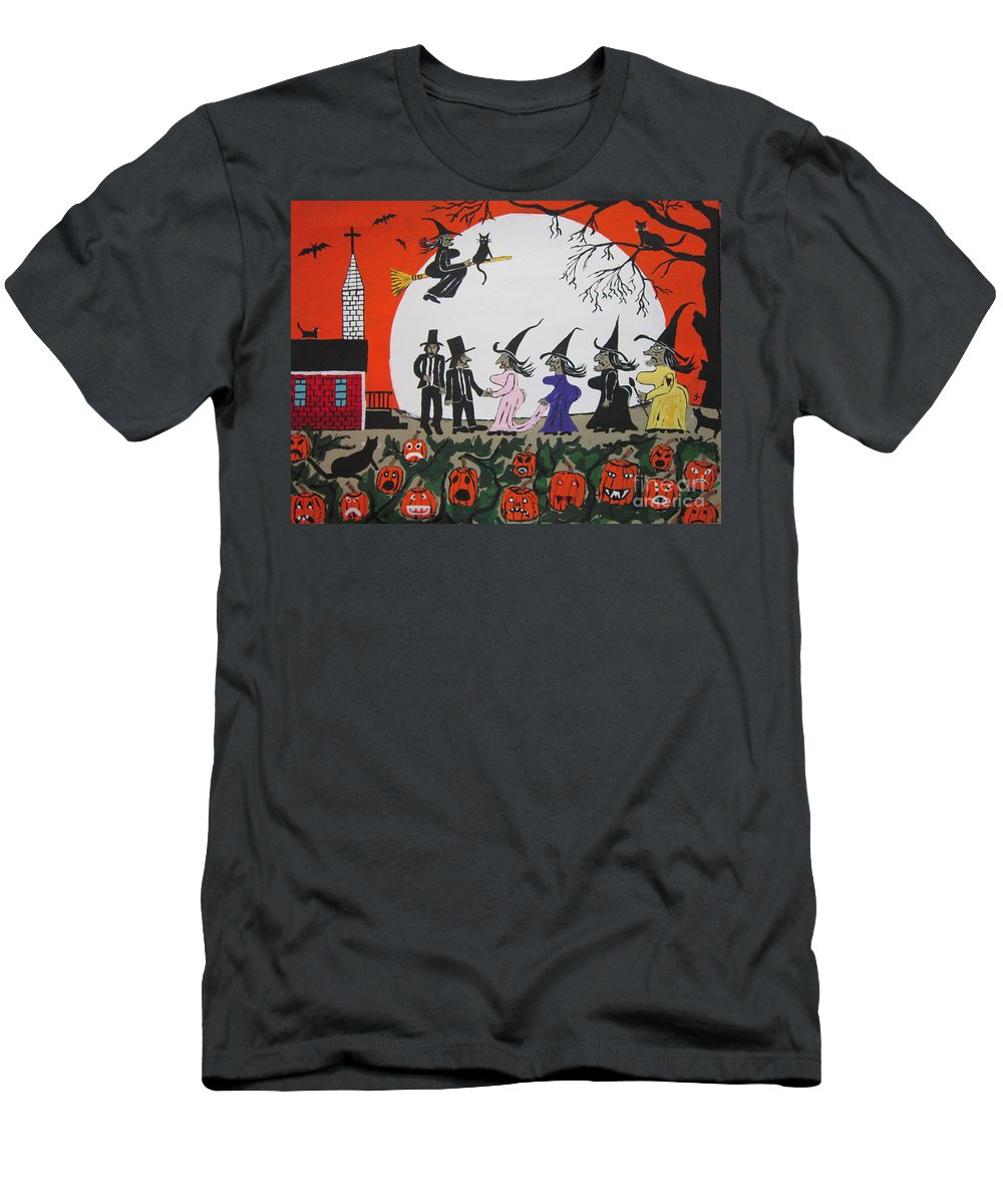 Full Moon Men's T-Shirt (Athletic Fit) featuring the painting A Halloween Wedding by Jeffrey Koss