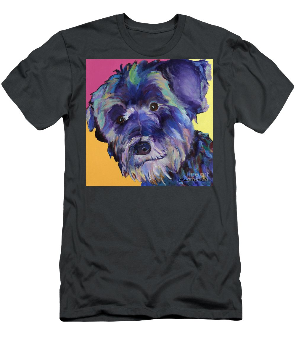 Schnauzer Acrylic Painting T-Shirt featuring the painting Beau by Pat Saunders-White