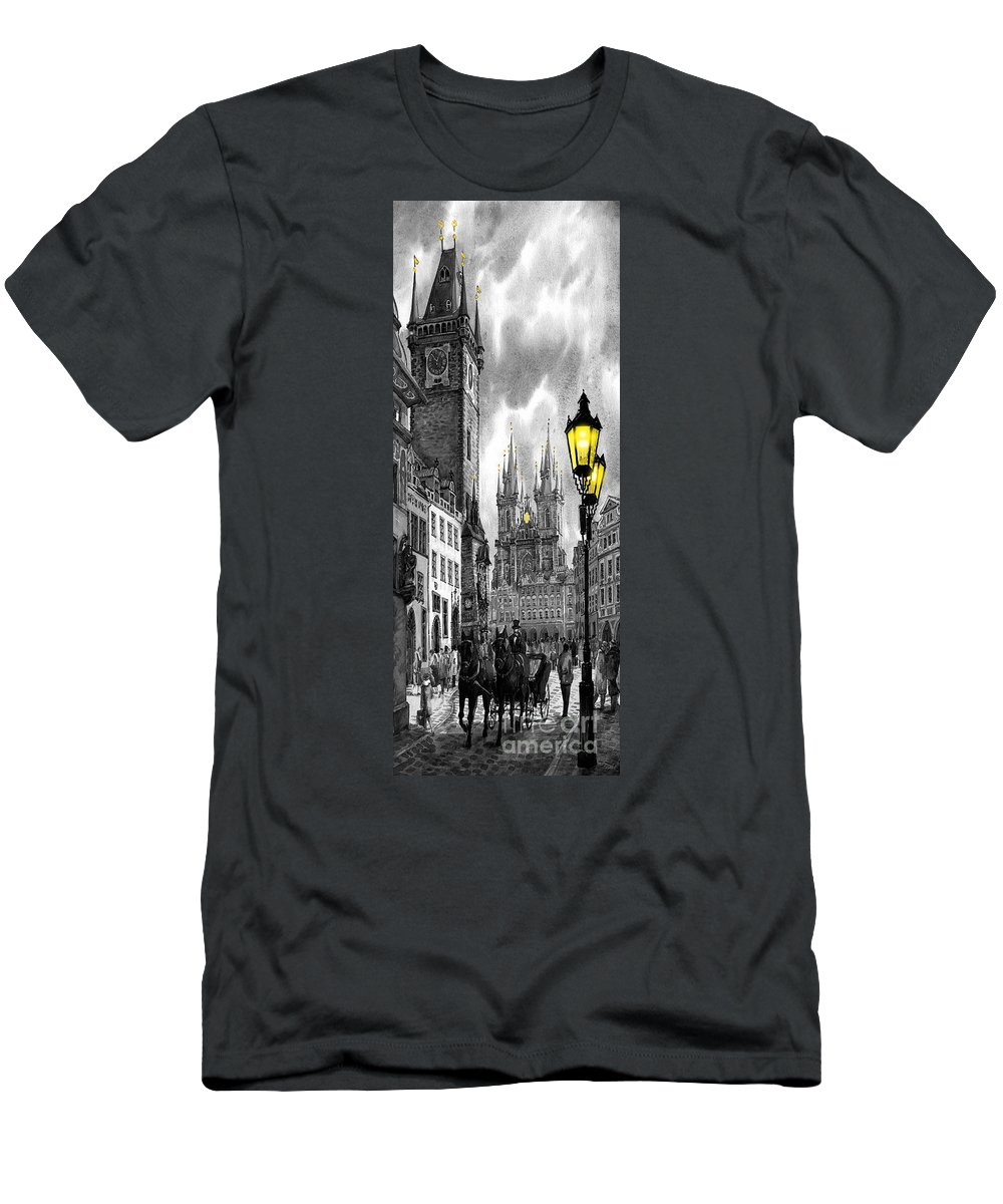 Geelee.watercolour Paper Men's T-Shirt (Athletic Fit) featuring the painting Bw Prague Old Town Squere by Yuriy Shevchuk